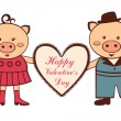 Stock Vector: Cute Valentine pigs