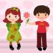 Stock Vector: Boy giving flower to girl for Valentines day
