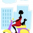 Pregnant woman on scooter with little dog - Stock Vector