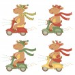 Scootering deers set - Stock Vector