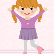 Little girl on roller blades — Imagen vectorial