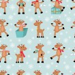 Funny deers background — Stock Vector
