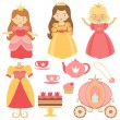 Princess party collection — Stock Vector