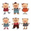 Cute set of pigs characters — Stock Vector