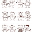 Cute pig couples to color — Stock Vector