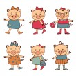 Fashionable pigs collection — Stock Vector