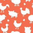 Stock Vector: Farm animals silhouettes pattern