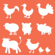 Farm animals silhouettes — Stock Vector