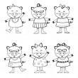 Cute pigs to color — Stock Vector