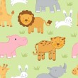 Cute animals seamless background — Stock Vector