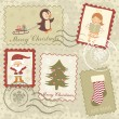 Stock Vector: Vintage Christmas stamps collection