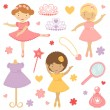 Royalty-Free Stock Vector Image: Little dancing ballerinas collection
