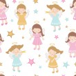 Cute angels seamless pattern - Stock Vector