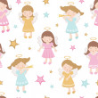 Cute angels seamless pattern - Image vectorielle