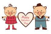 Cute Valentine pigs — Stock Vector