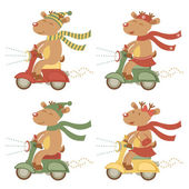Scootering deers set — Stock Vector