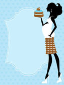 Mom to be holding cake — Stock Vector