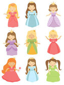Beautiful princesses collection — Stock Vector