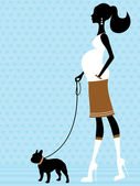 Chic pregnant woman with french bulldog — Stock Vector