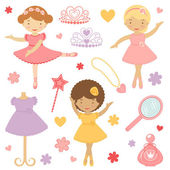 Little dancing ballerinas collection — Stock Vector