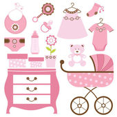 Baby shower en rosa — Vector de stock
