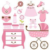 Baby shower in pink — Stock Vector