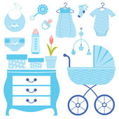 Baby shower in blue — Stock Vector