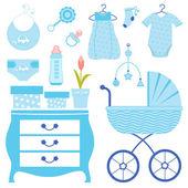 Baby shower in blue — Stock Vector
