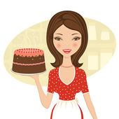 Beautiful baker holding cake — Stock Vector