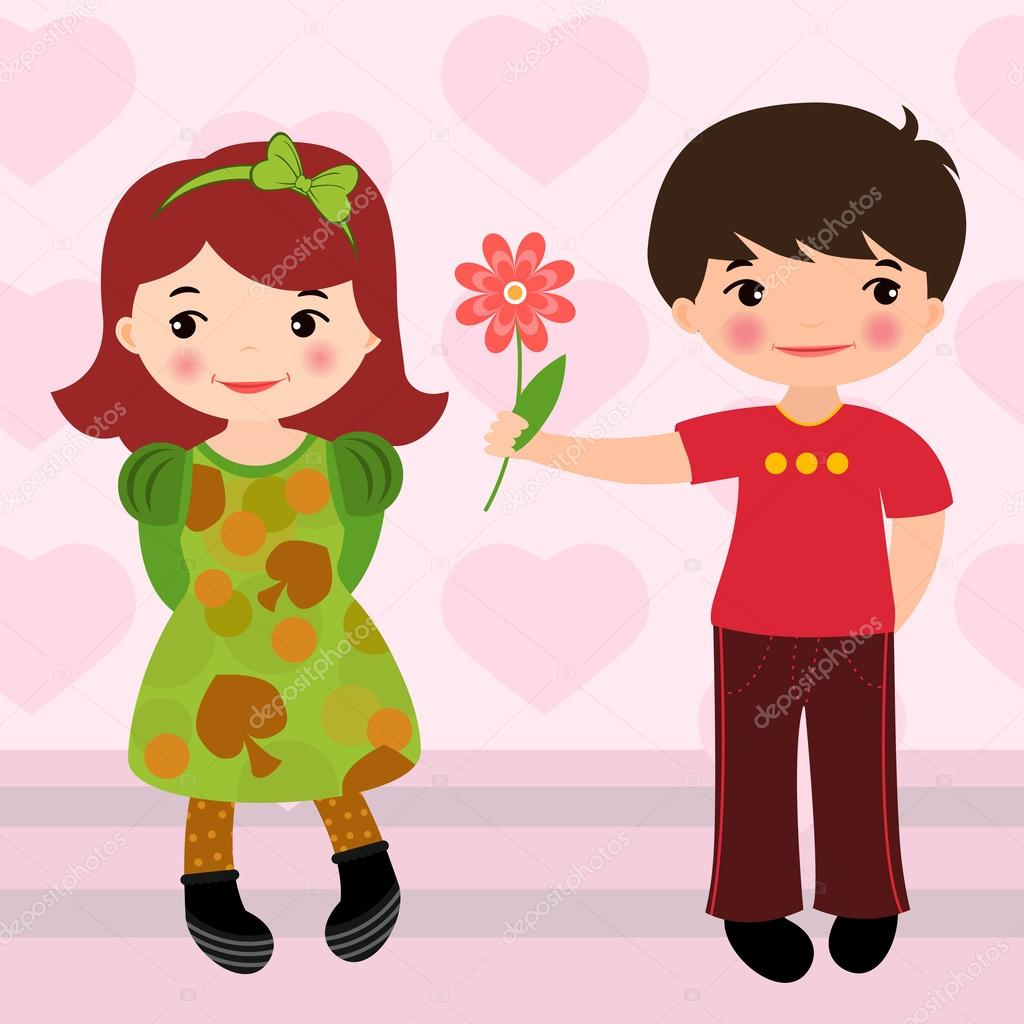 Boy Giving Flower To A Girl For Valentines Day Stock
