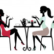 Two beautiful women sitting in a cafe - Imagen vectorial