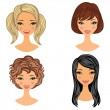 Beautiful girls faces set — Stock Vector