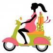 Pregnant woman scootering with gifts — Stock Vector