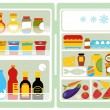 Open fridge full of food - Stock Vector