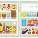 Open fridge full of food — Stock Vector