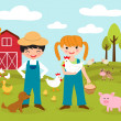 Stock Vector: Little farmers