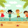 幸せな子供たちはビーチでジャンプ — ストックベクタ