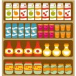 Stock Vector: Grocery shelves