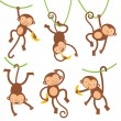 Funny monkeys set — Stock Vector #19425695