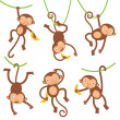 Funny monkeys set — Stock Vector