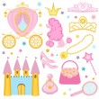Cute princess collection — Stock Vector