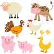 Cute farm animals — Stock Vector