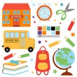 An illustration of colorful school icons — Stock Vector