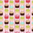 Stock Vector: Seamless colorful cakes pattern
