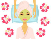 Woman having beauty treatment — Stock Vector