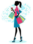 Elegant woman shopping with coffee — Stock Vector