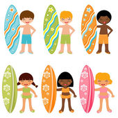 Surfing kids set — Stock Vector
