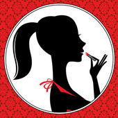 A vector illustration of a young woman applying lipstick — Stock Vector