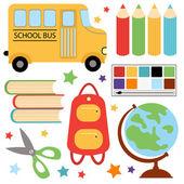 Ensemble scolaire coloré — Vecteur