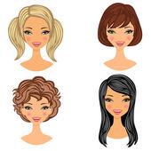 Beautiful girls faces set — Stock Vector